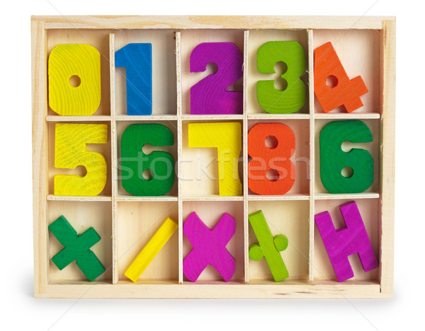 Toy wooden figures in a box Stock photo © pzaxe