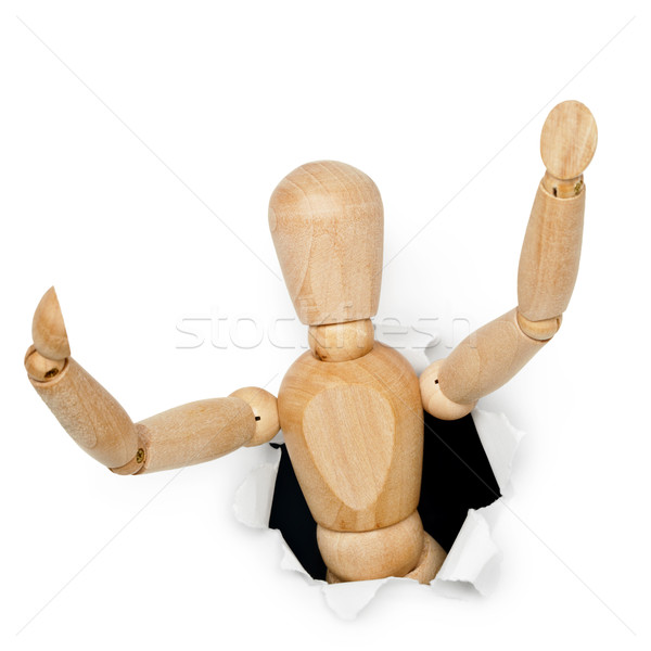 Brinquedo de madeira homem fora buraco isolado Foto stock © pzaxe