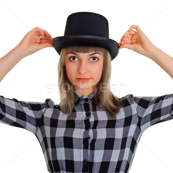 Girl in a black silk hat, isolated on white Stock photo © pzaxe