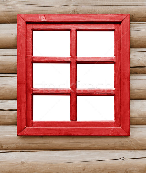 Red wooden window on the farmhouse Stock photo © pzaxe