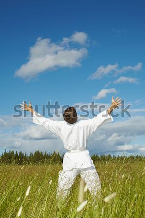 Person emotionally rejoices lives Stock photo © pzaxe