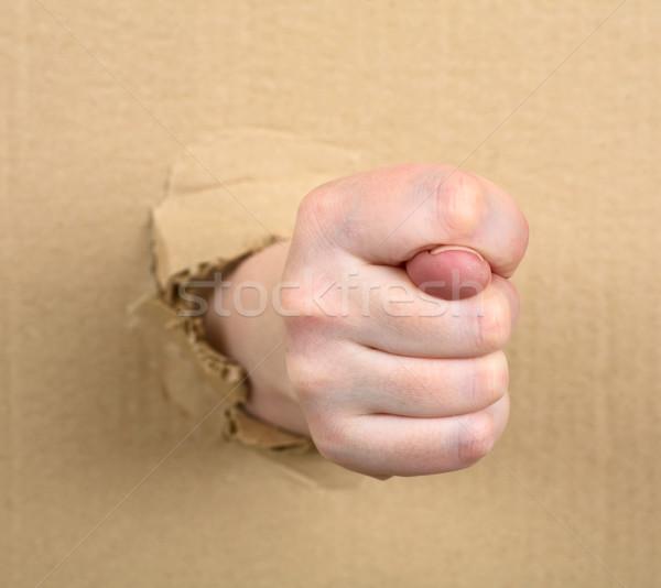 Higo femenino mano mostrar diversión mujer Foto stock © pzaxe