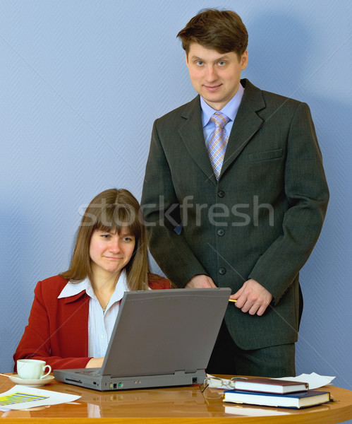 Ragazze desktop capo ragazza seduta donna Foto d'archivio © pzaxe