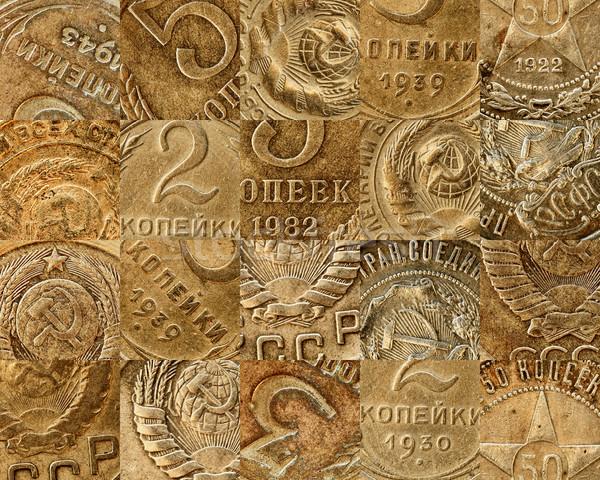 öreg szovjet érmék kollázs réz textúra Stock fotó © pzaxe