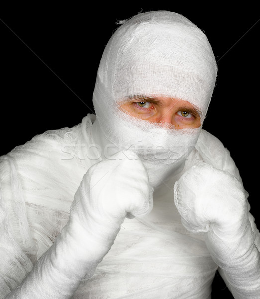 Completely bandaged man is ready to fight Stock photo © pzaxe