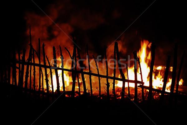 火災 木製 フェンス フォアグラウンド 光 ストックフォト © pzaxe