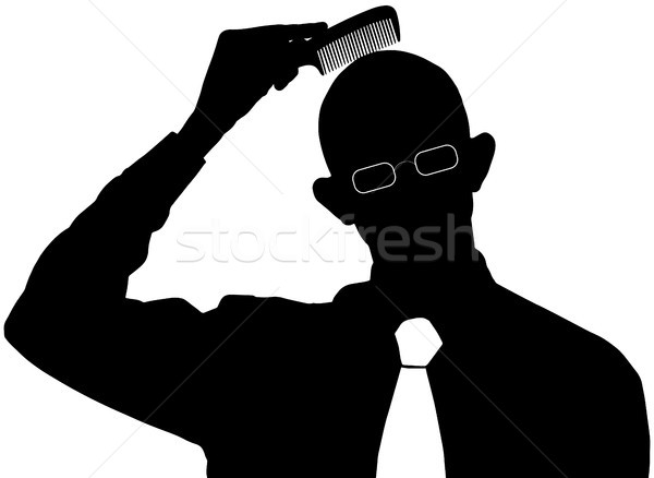 Vector silhouette - Bald man does not need a comb Stock photo © pzaxe