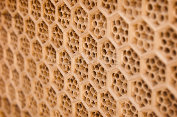 Indian traditional ornament - brown sandstone grill Stock photo © pzaxe