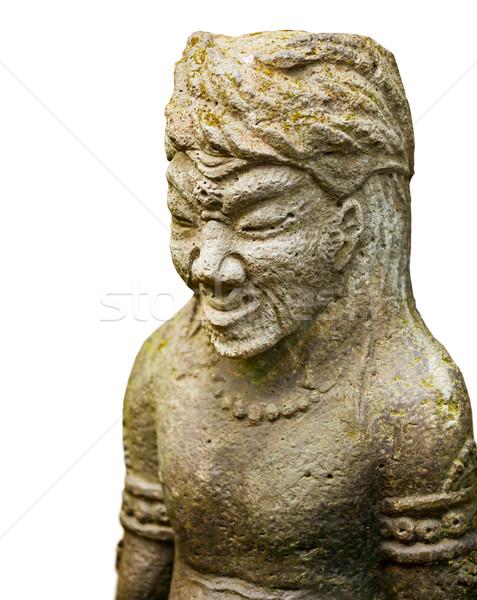 Kamień rzeźba starożytnych wojownika odizolowany biały Zdjęcia stock © pzaxe