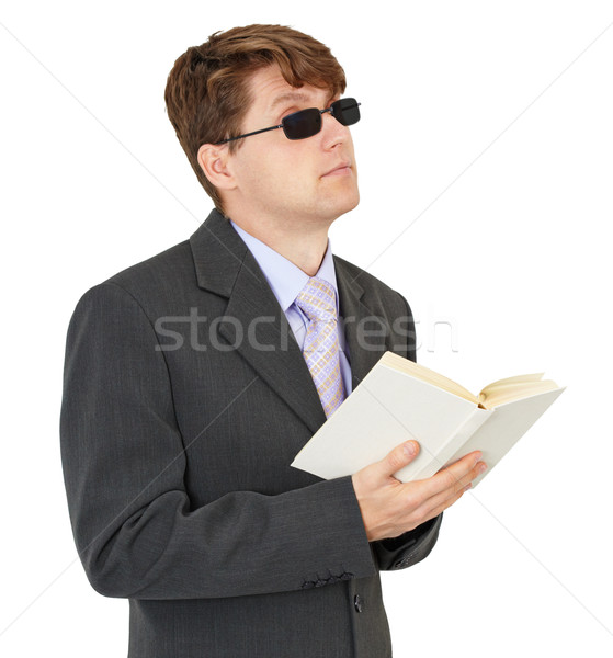 Blind young man with book isolated on white background Stock photo © pzaxe