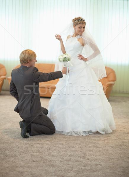 Bruidegom bruid grappig pose hal ceremonieel Stockfoto © pzaxe