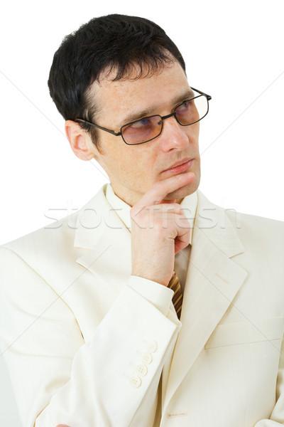 Zdjęcia stock: Myślenia · młody · człowiek · okulary · odizolowany · biały · człowiek