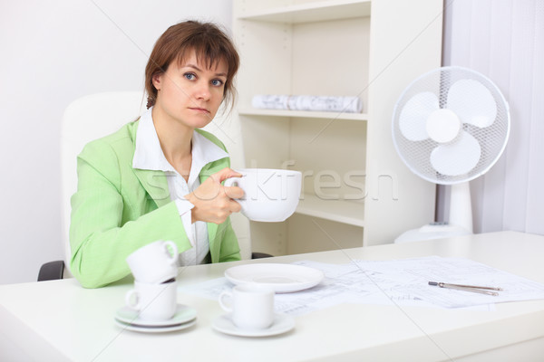 Woman with very big cup in hand Stock photo © pzaxe