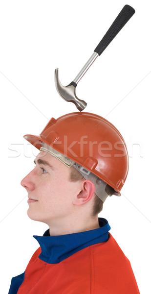 молота шлема белый стороны человека синий Сток-фото © pzaxe