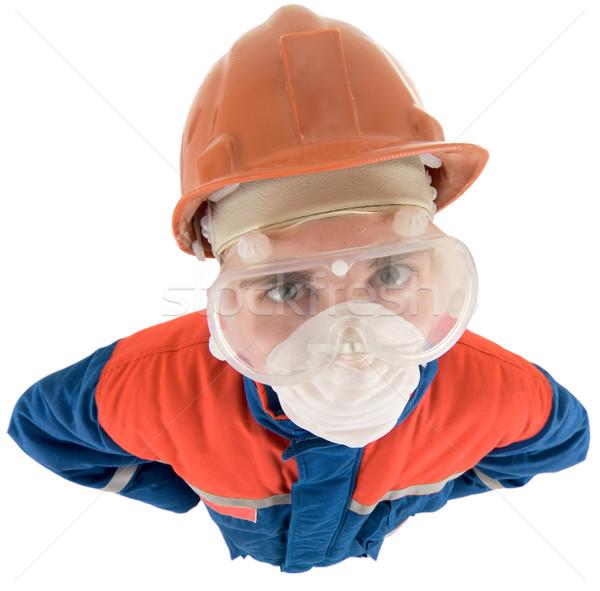 Casco uomo sfondo lavoratore lavoro sicurezza Foto d'archivio © pzaxe