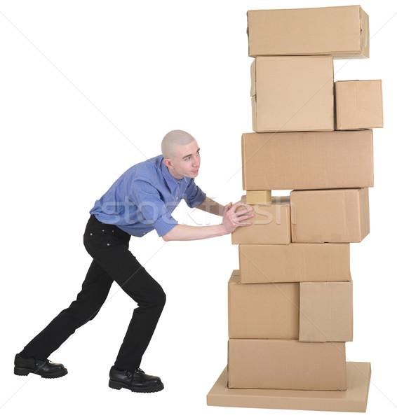 Man voortvarend karton dozen witte Stockfoto © pzaxe