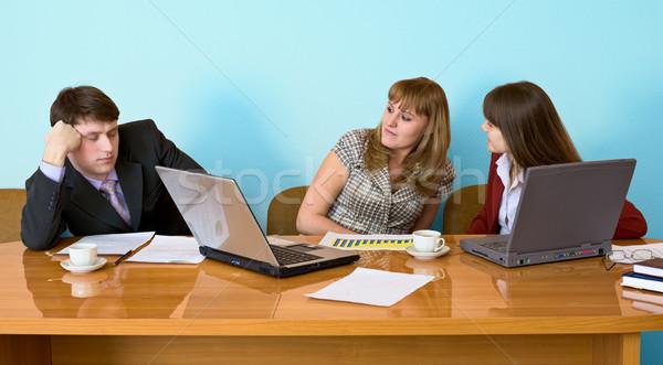 бизнесмен спящий сидят заседание молодые женщину Сток-фото © pzaxe