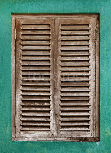 Old window with wooden lattice Stock photo © pzaxe