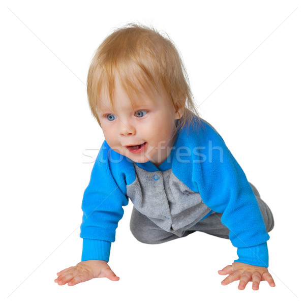 Inquisitive child crawling on the floor Stock photo © pzaxe