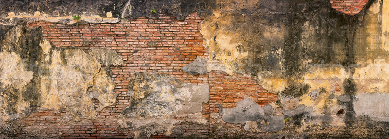 Old, Crumbling, Brick Wall in Georgetown, Penang, Malaysia Stock photo © pzaxe