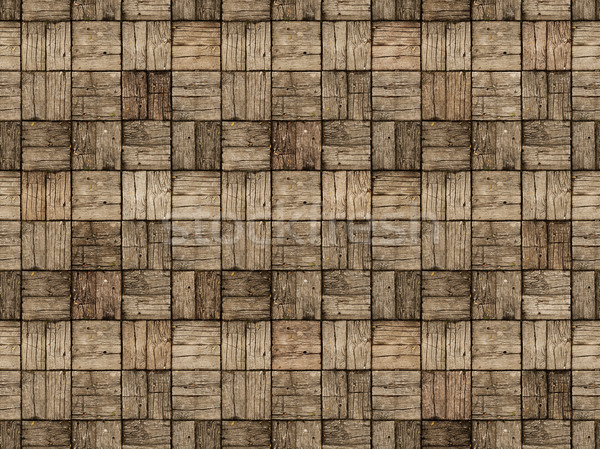 Wooden Patio in Parquet Style with Alternating Woodgrain Stock photo © pzaxe