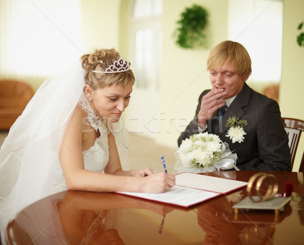 Registration of marriage. Groom in doubt. Stock photo © pzaxe