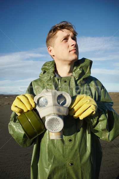 Young scientist breathe air without gas mask Stock photo © pzaxe