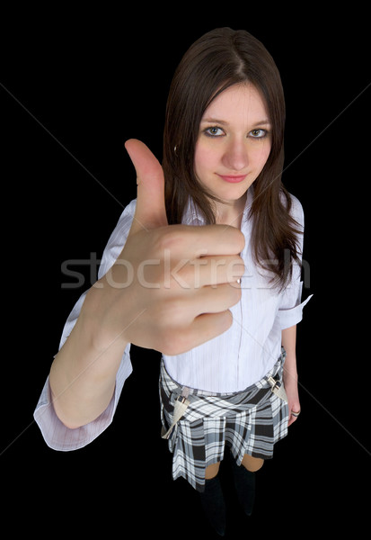 Comical girl showing gesture - thumb up Stock photo © pzaxe