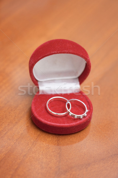 Red casket with two wedding rings Stock photo © pzaxe