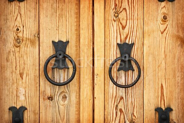 Drzwi metal drzwi drewna tle Zdjęcia stock © pzaxe