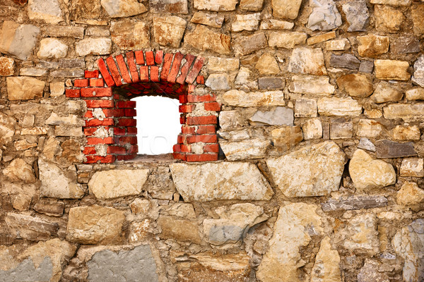 Old wall of castle with a window Stock photo © pzaxe