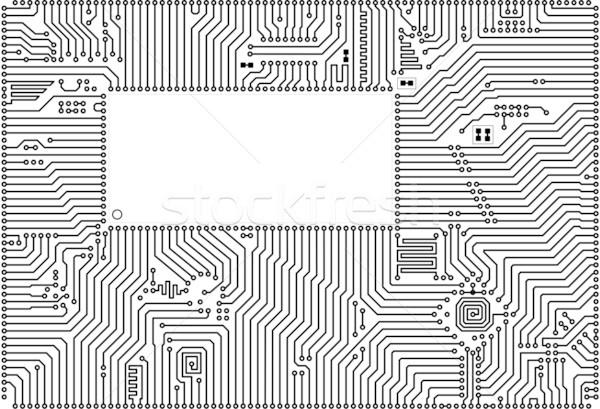 Foto d'archivio: Vettore · circuito · frame · indietro · bianco · computer
