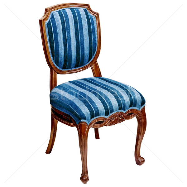 Blue striped chair isolated on white background Stock photo © pzaxe