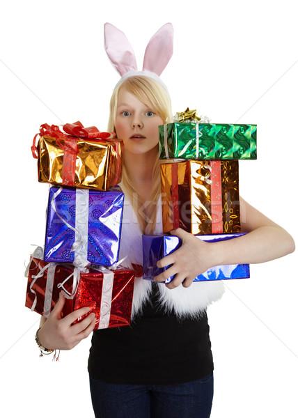 Lány jelmez ajándékok fehér nő kezek Stock fotó © pzaxe