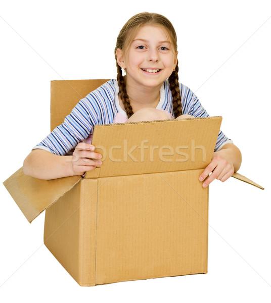 забавный девочку изолированный белый назад Сток-фото © pzaxe