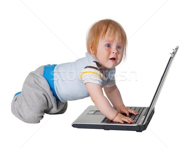 Stockfoto: Wanhoop · moeilijkheid · studeren · computer · technologie · kid