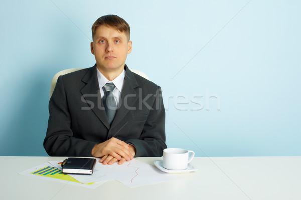 静か ビジネス 若い男 デスク オフィス 紙 ストックフォト © pzaxe