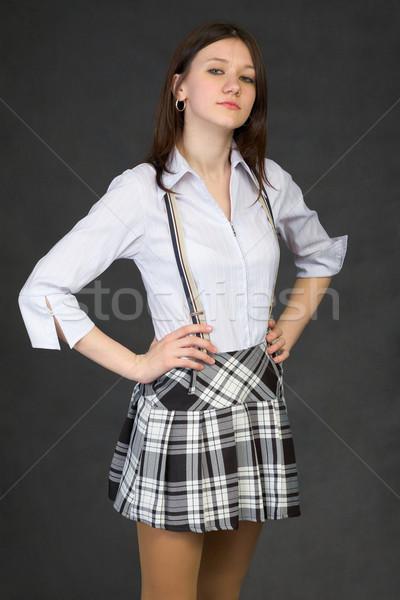 誇りに思う 若い女の子 スカート 黒 女性 肖像 ストックフォト © pzaxe