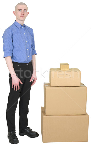 Man in overalls and cardboard boxes Stock photo © pzaxe