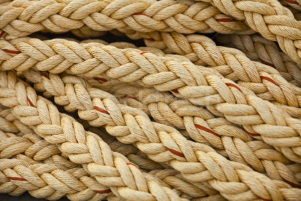 Nautical knots. Big marine vintage sea ropes in heap background Stock photo © pzaxe
