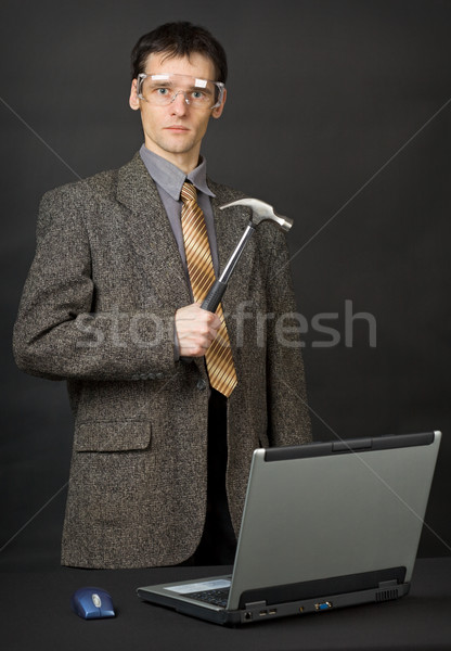 Man repair computer with their own hands Stock photo © pzaxe