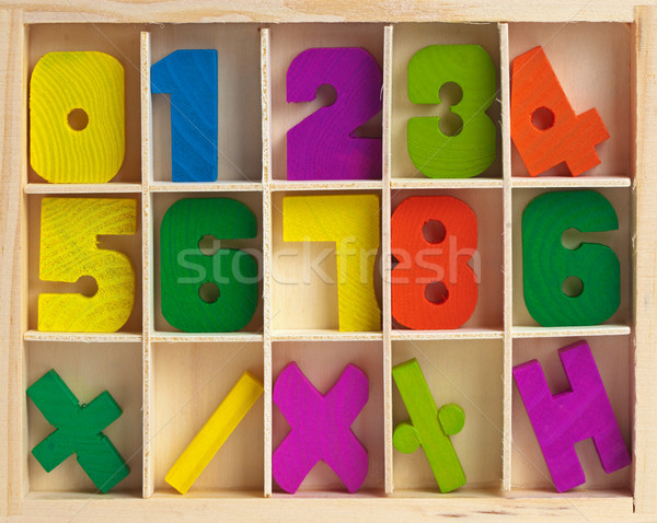 Wooden set for training to arithmetics Stock photo © pzaxe
