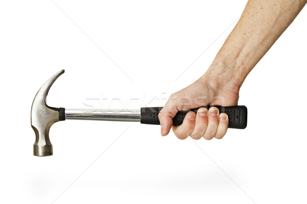Hand holding hammer isolated on white background Stock photo © pzaxe