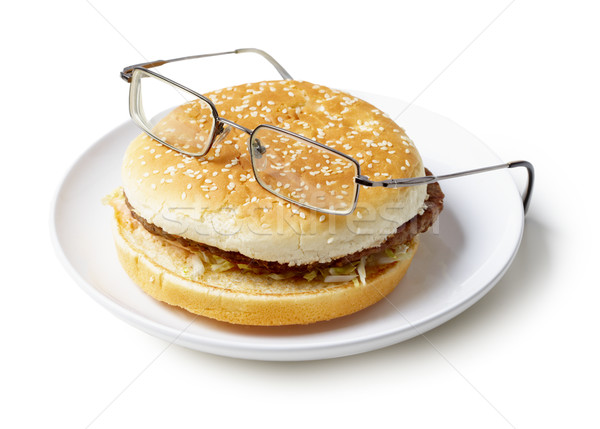 Amusing sandwich in spectacles isolated on a white background Stock photo © pzaxe