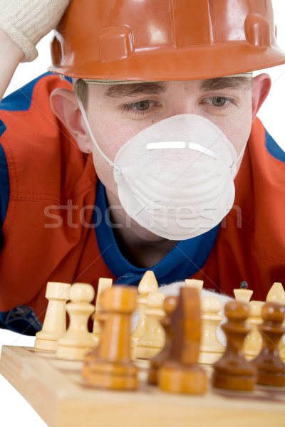 Worker and chess Stock photo © pzaxe