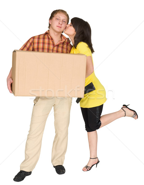 Girl kisses the guy holding a box Stock photo © pzaxe