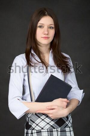 Сток-фото: портрет · школьница · чтение · книга · черный · женщину