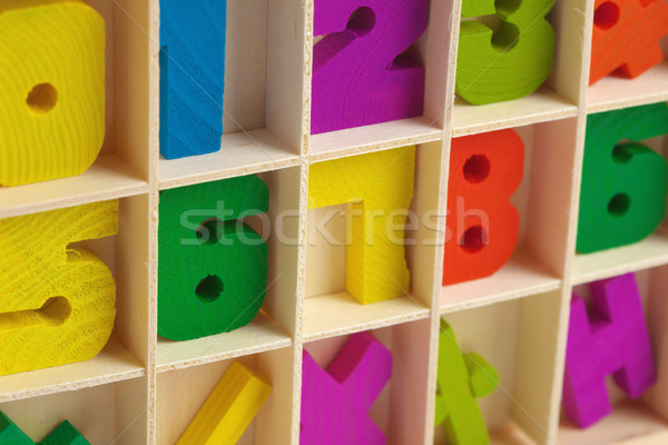 Color wooden toy figures in box Stock photo © pzaxe