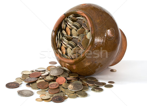 Clay pot with antique coins Stock photo © pzaxe
