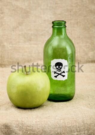 şişe zehir elma kumaş imzalamak yeşil Stok fotoğraf © pzaxe